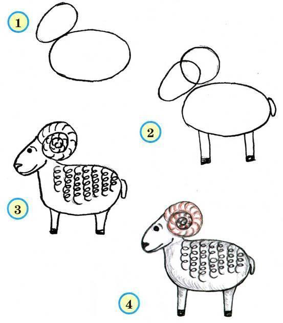Схемы для рисования барана