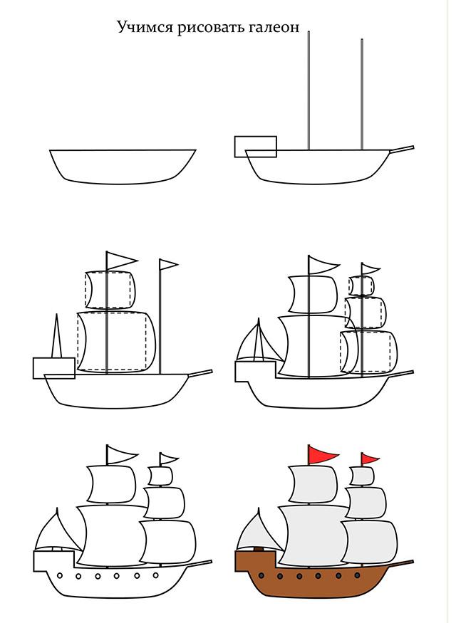 Как нарисовать корабль карандашом поэтапно для начинающих